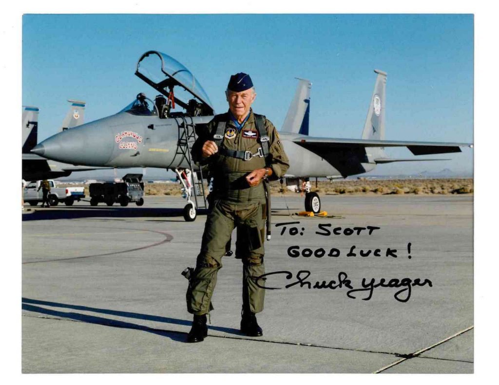 Brigader General Chuck Yeager Good Luck to Scott Haskins copy