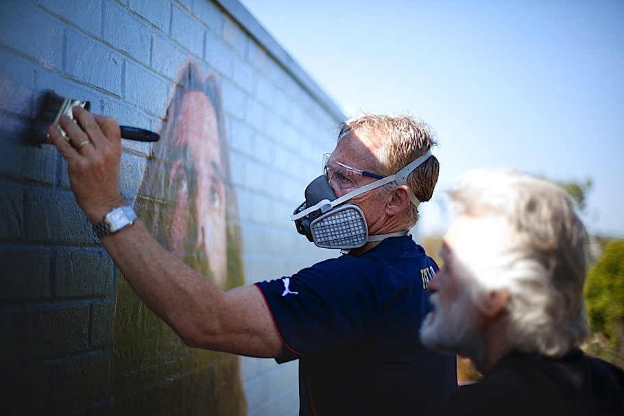 Mural conservation work begins on jesus biola mural fine for Biola jesus mural
