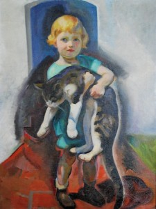 Oil painting of girl with cat by Edouard Vysekal