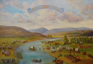 Dan Weggeland painting of Pioneers Crossing the Platte River