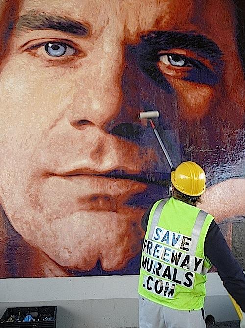 Anti graffiti varnish on Jim Morphesis Monument