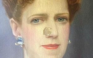 Bullet Hole in Portrait of Grandma