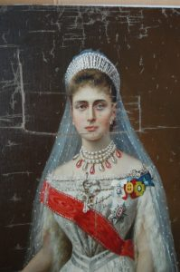 This painting of Russian royalty was slashed with bayonets but eventually rolled up then smuggled out of Russia.