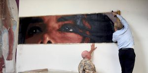 Michael Jackson's eyes painted by Kent Twitchell while working with Michael in his studio.