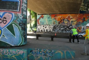 Downtown Freeway Murals in LA Smeared with Graffiti