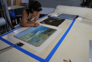 Oriana Montemurro Working on two paintings