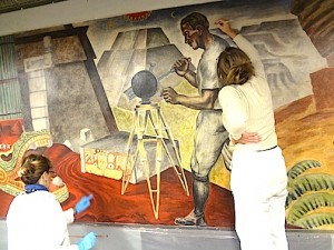 Inpainting damage on WPA mural in City Hall Cedar Rapids