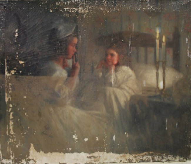 Water damaged painting being cleaned