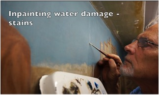 Inpainting water damage on a mural