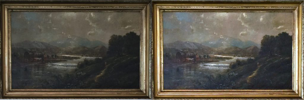 Smoke Damaged 19th Century Oil Painting in its original frame brought back to life with a careful and expert cleaning.
