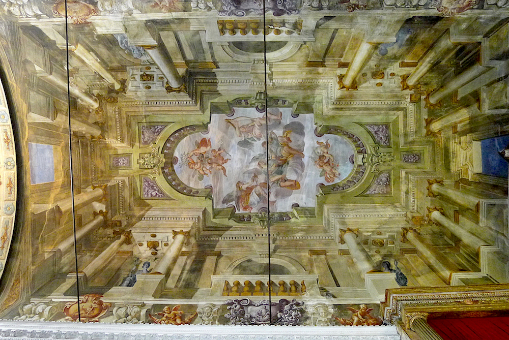 The magical perspective of these murals on a flat ceiling.