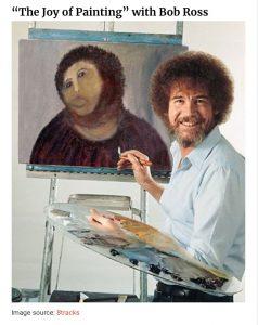 Artist restoring vintage painting- his own vibe