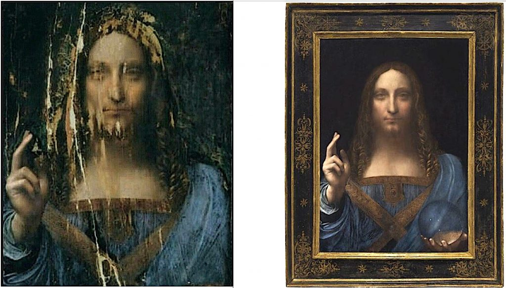 Before and After Painting Conservation Salvador Mundi