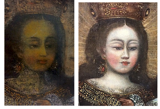 Repainted face of Spanish Colonial Madonna